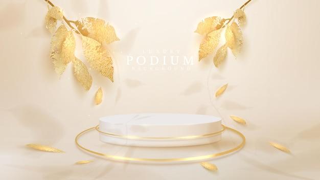 Białe podium ze złotymi liśćmi ze spadającymi cieniami, realistyczne luksusowe tło w stylu 3d, pusta przestrzeń do umieszczania produktów lub tekstu do reklamy. ilustracji wektorowych.