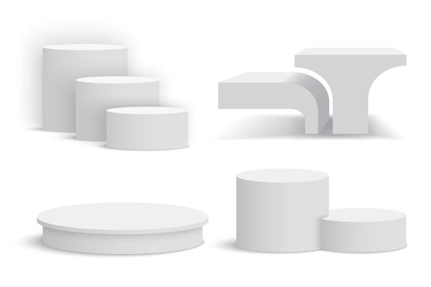 Białe podium. zestaw białych cokołów.