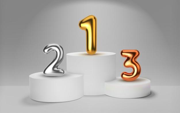 Białe podium zwycięzców renderowania. numer w postaci złotych balonów. nagradzanie zwycięzców zawodów sportowych. okrągły realistyczny cokół.