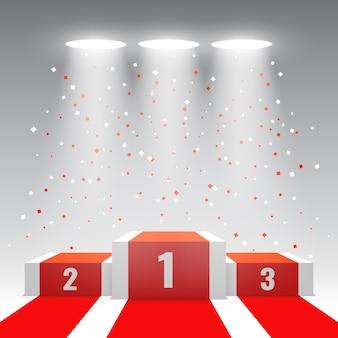 Białe podium zwycięzców z czerwonym dywanem i konfetti. scena na ceremonię wręczenia nagród. piedestał. ilustracja.