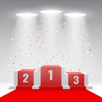 Białe podium zwycięzców z czerwonym dywanem i konfetti. scena na ceremonię wręczenia nagród z reflektorami. piedestał. ilustracja.