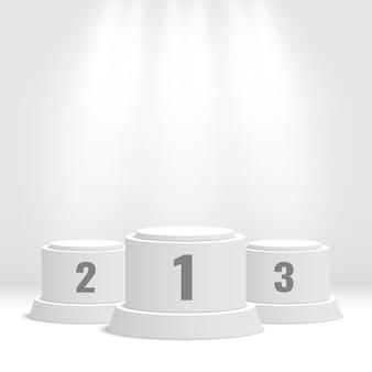 Białe podium zwycięzców z reflektorami. piedestał. ilustracja.