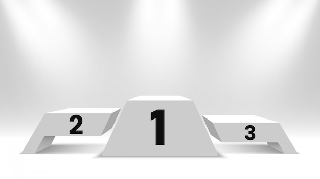 Białe podium zwycięzców z reflektorami. pusty cokół. ilustracja.