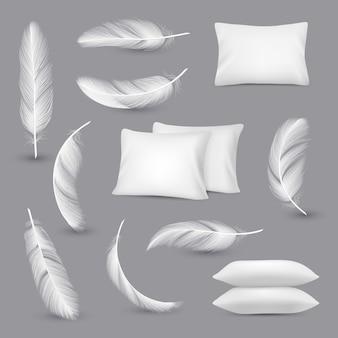 Białe poduszki. wiatr pióra do sypialni prostokąt poduszki wektor realistyczne zdjęcia na białym tle