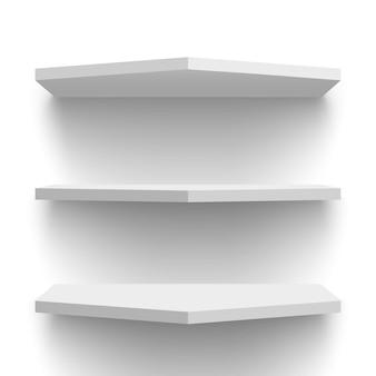 Białe półki ścienne. ilustracja.