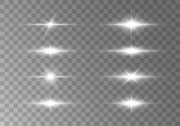 Białe poziome flary soczewek, wiązki lasera, rozbłysk światła.