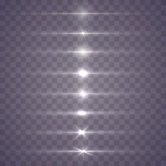 Białe poziome flary soczewek. wybucha świecące światło. świetliste, musujące linie.