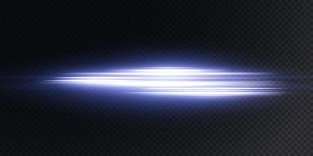 Białe poziome odblaski soczewki na ciemnoniebieskim tle