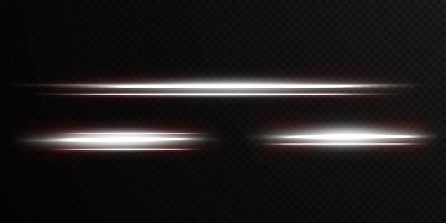 Białe poziome światło flary soczewek opakowanie wiązki laserowe poziome promienie światła piękne światło