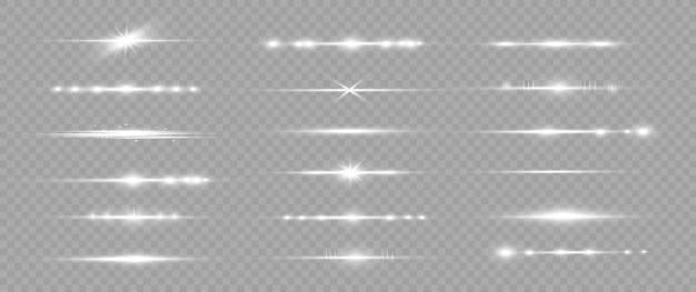 Białe poziome wiązki lasera, poziome promienie światła.