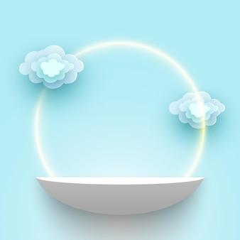 Białe produkty wyświetlają platformę stoisko wystawowe z chmurami pusty wektor półki na cokole