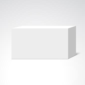 Białe prostokątne pudełko. pakiet. ilustracja.