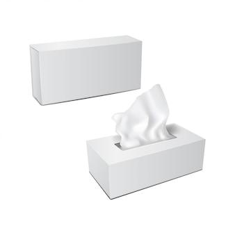 Białe prostokątne pudełko z papierowymi serwetkami. realistyczny zestaw opakowań