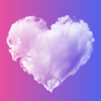 Białe przezroczyste serce z chmur na różowo-niebieskim tle.