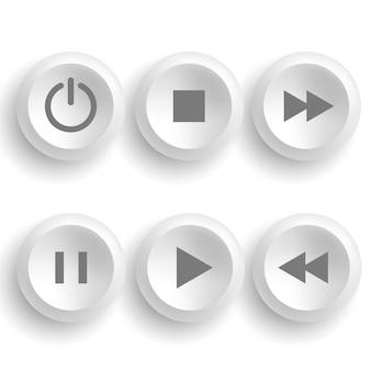 Białe przyciski dla gracza: zatrzymanie, odtwarzanie, pauza, przewijanie do tyłu, przewijanie do przodu, moc. ilustracja.