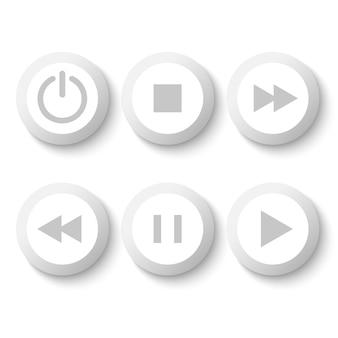 Białe przyciski odtwarzacza: stop, odtwarzanie, pauza, przewijanie do tyłu, szybkie przewijanie do przodu, moc.