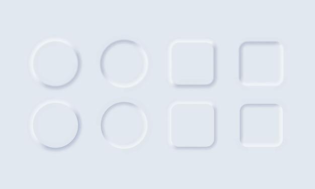 Białe przyciski w stylu neomorfizmu dla strony internetowej lub aplikacji