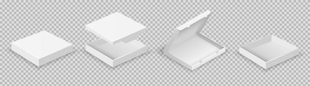 Białe pudełka. otwarty zestaw opakowań. wektor realistyczne pudełka z pokrywkami na przezroczystym tle. pudełko z ilustracjami otwarte, białe opakowanie kartonowe na pizzę