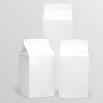 Białe pudełko na produkty mleczne. ilustracja zawiera siatkę gradientu. każdy przedmiot można łatwo usunąć.