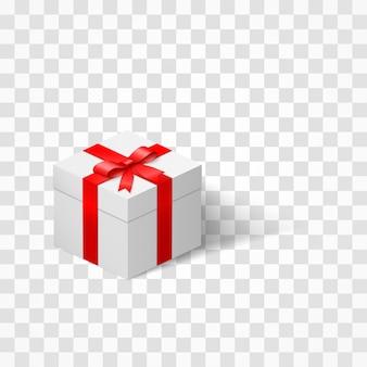 Białe pudełko z kokardką przewiązaną wstążką na przezroczystym tle. teraźniejszość i niespodzianka. ilustracja