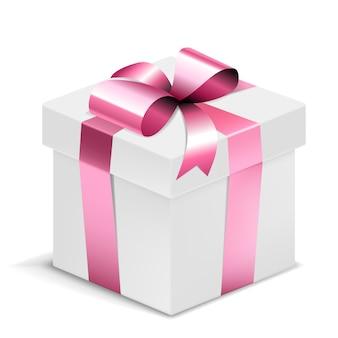 Białe pudełko z różową kokardką na białym tle