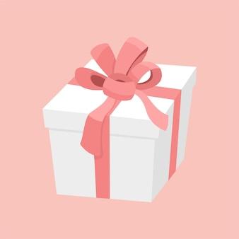 Białe pudełko z różową wstążką i satynową kokardką, prezent na walentynki, boże narodzenie lub urodziny