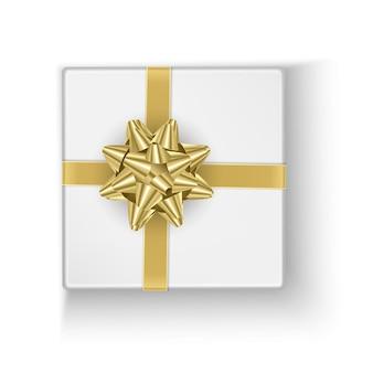Białe pudełko ze złotą kokardką, ilustracja na prezent