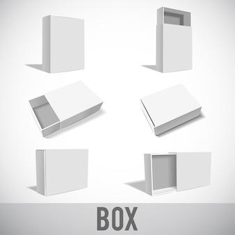 Białe pudełko zestaw makieta na białym tle