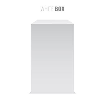 Białe pudło. pakiet. piedestał. ilustracja.