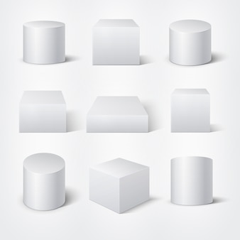 Białe puste cylindry 3d i kostki. szablon produktu podium wektor. cylindryczny element geometryczny, ilustracja kształt figury geometrii