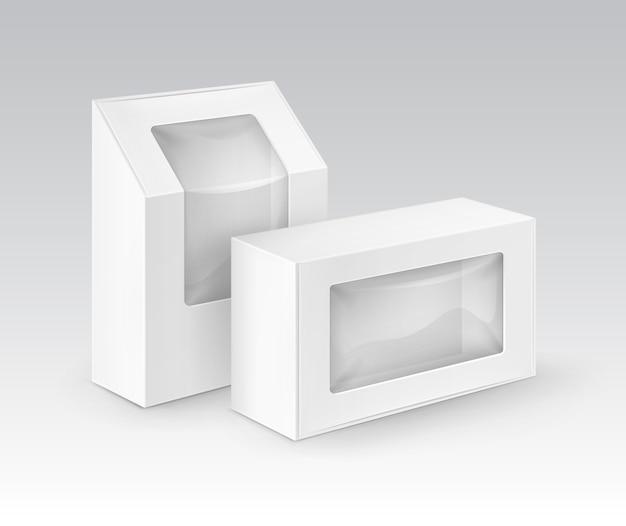 Białe puste kartonowe pudełka na wynos opakowania na kanapki