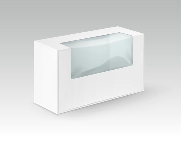 Białe puste kartonowe pudełko na wynos opakowanie na kanapkę, żywność, prezent, inne produkty z makietą z tworzywa sztucznego z bliska na białym tle