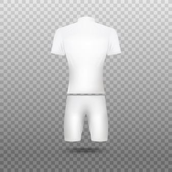 Białe puste koszulki rowerowe realistyczna ilustracja na przezroczystym tle. mundur dla rowerzystów szablon odzieży sportowej drużyny.