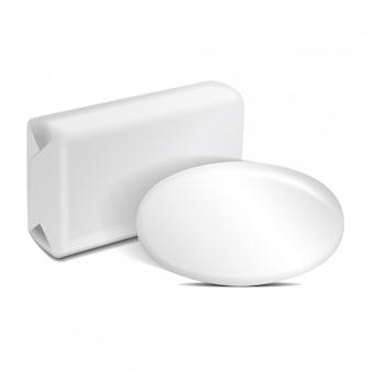 Białe Puste Mydło W Folii Lub W Pudełku Papierowym. Premium Wektorów