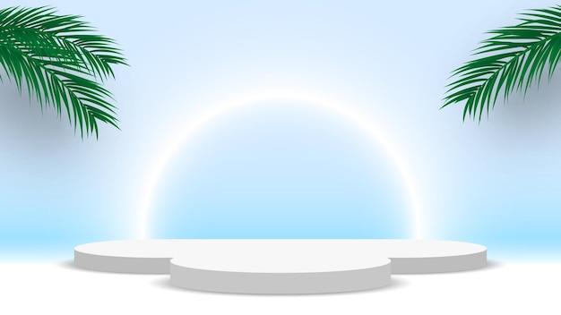 Białe puste okrągłe podium z liśćmi palmowymi cokole stoisko wystawowe platformy produktowej
