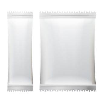 Białe puste opakowanie do saszetki.