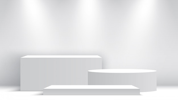 Białe puste podium. cokół z reflektorami. scena. pudła. ilustracja.