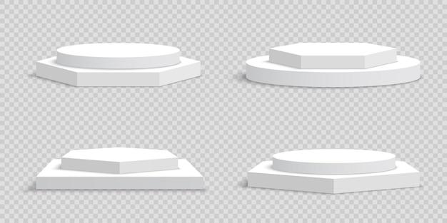 Białe puste podium na przezroczystym