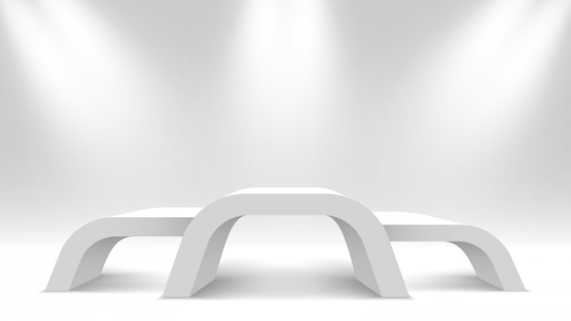 Białe puste podium zwycięzców. stoisko wystawowe z reflektorem. piedestał. ilustracja.
