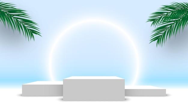 Białe puste podium zwycięzców z liśćmi palmowymi cokole stoisko wystawowe platformy produktów