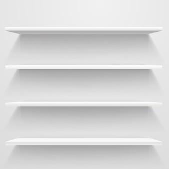 Białe puste półki na białej ścianie. makieta wektorowa