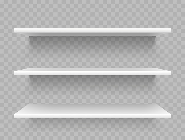 Białe puste półki na produkty
