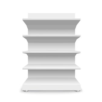 Białe puste półki sklepowe na białym tle. regały do sprzedaży detalicznej. szablon prezentacji. ilustracja