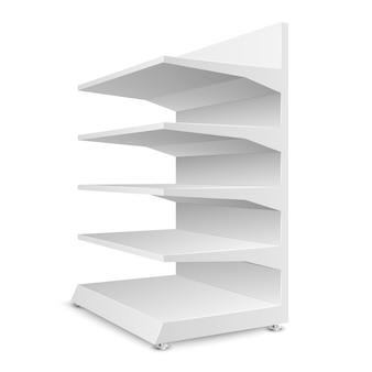 Białe puste półki sklepowe na białym tle