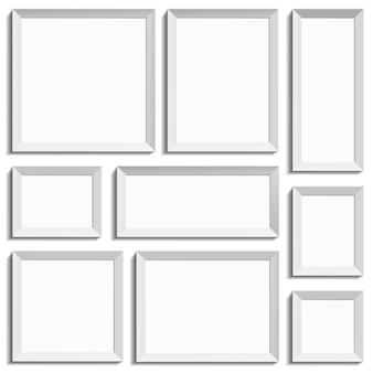 Białe puste ramki w międzynarodowym formacie papieru. ilustracja na białym tle.