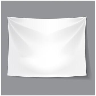 Białe puste tło tkaniny. szablon transparentu