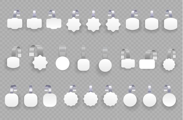 Białe puste woblery reklamowe na przezroczystym tle. wobler 3d pusty biały okrągły. koncepcja sprzedaży promocyjnej, metka w supermarkecie. kwadratowe etykiety na sprzedaż papieru. illustrtaion