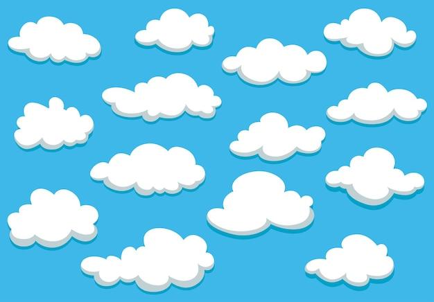 Białe puszyste chmury na wiosennym błękitnym niebie w stylu kreskówki do projektowania tła lub tapety i wypełnienia strony