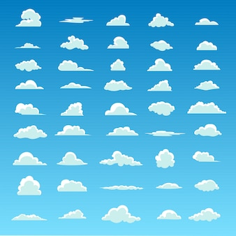 Białe puszyste chmury na wiosny niebieskim niebie w kreskówce projektują dla tła