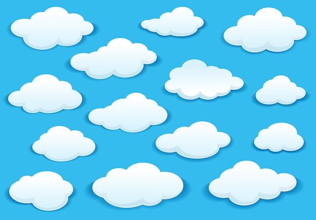 Białe puszyste ikony chmur na turkusowym niebie o różnych kształtach z cieniem